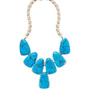 KS gold statement necklace in aqua howlite